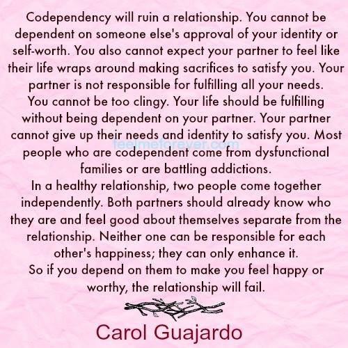 Codependency will ruin a relationship