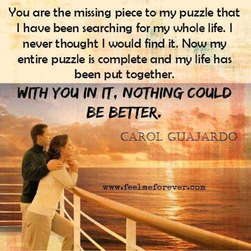 Missing Puzzle Piece Quote: You Are The Missing Piece To My Puzzle